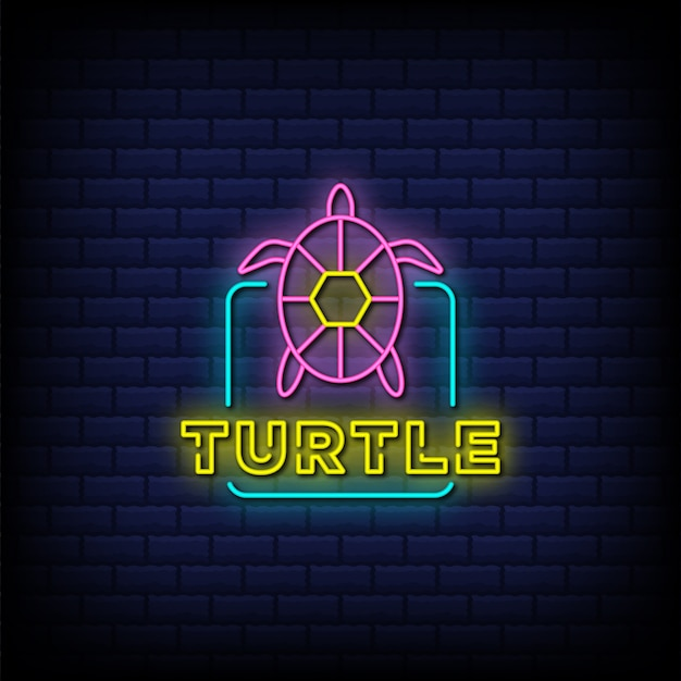 Turtle neon signs style text design