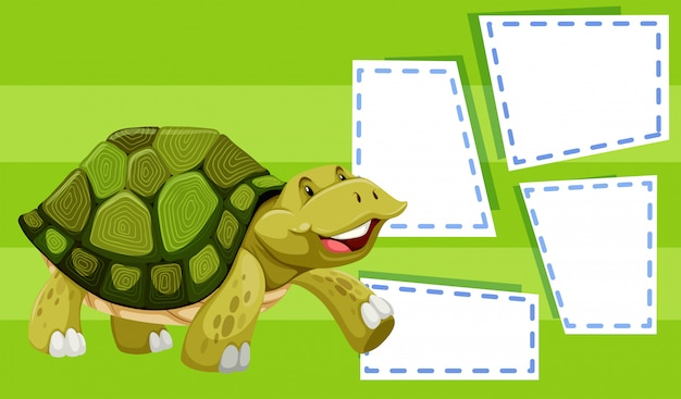 A turtle on note template