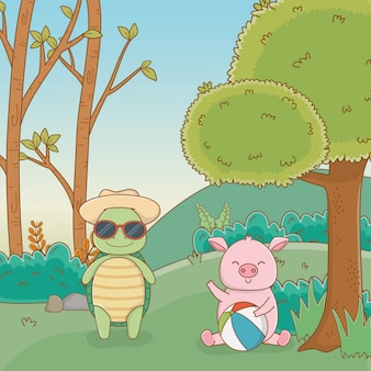 Turtle and pig in forest