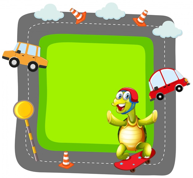 Turtle playing skate banner