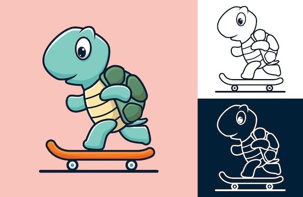 스케이트 보드를 재생하는 거북이. 평면 아이콘 스타일의 만화 그림