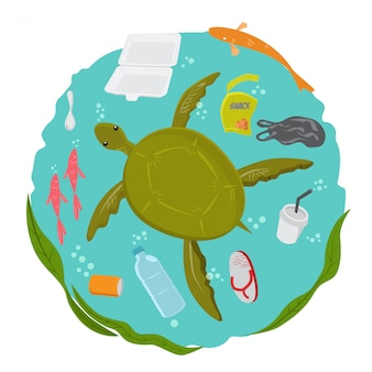 Turtle in polluted sea