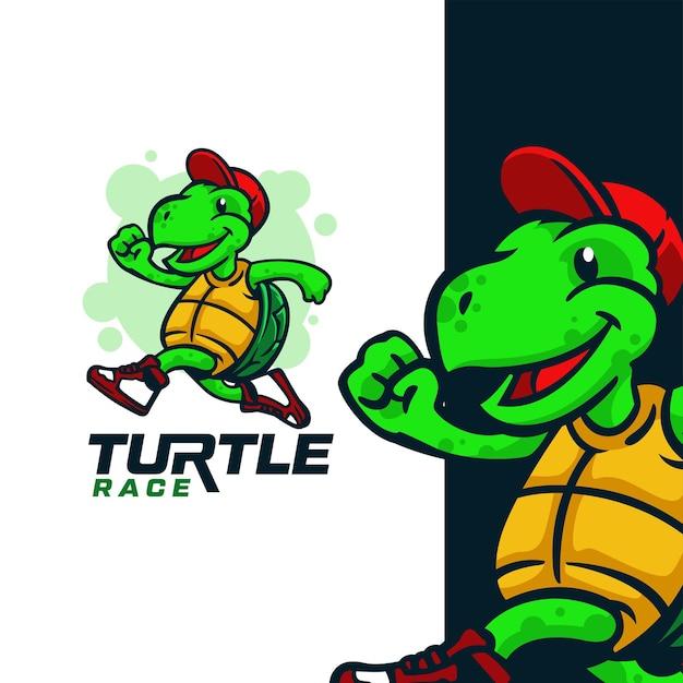 Turtle race mascot logo