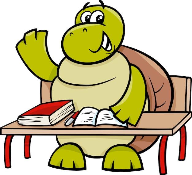 손을 올리는 거북이 만화 일러스트 레이션
