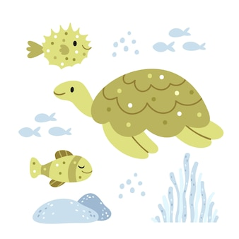 Turtle and sea urchinunderwater world summer illustration in green colors
