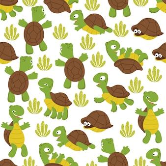 Черепаха бесшовные модели. текстура дикой милой черепахи с принтом для текстиля для детей