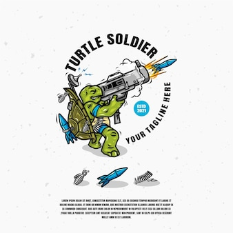 Turtle soldier logo design