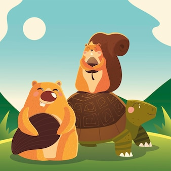 Turtle squirrel and beaver in the grass cartoon animals  illustration