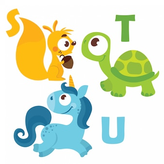 Turtle, squirrel, unicorn with alphabet letters