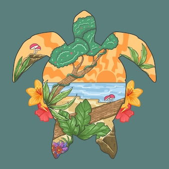 Turtle summer beach paradise spring season vector