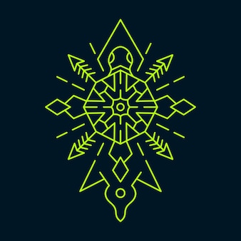 Turtle symmetry ornament monoline abstract