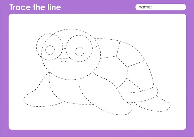 Turtle - transportation tracing lines preschool worksheet for kids