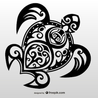 Turtle tribal tattoo vector