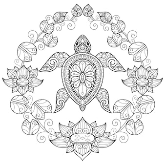 Turtle and water lily, hand drawn sketch illustration for adult coloring book.
