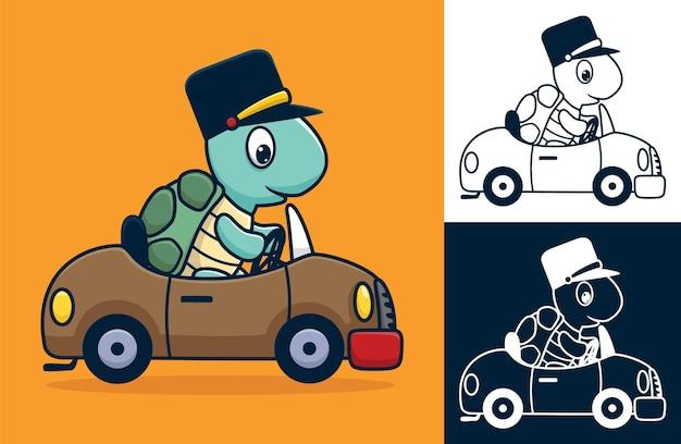 차에 모자를 쓰고 거북이. 평면 아이콘 스타일의 만화 그림