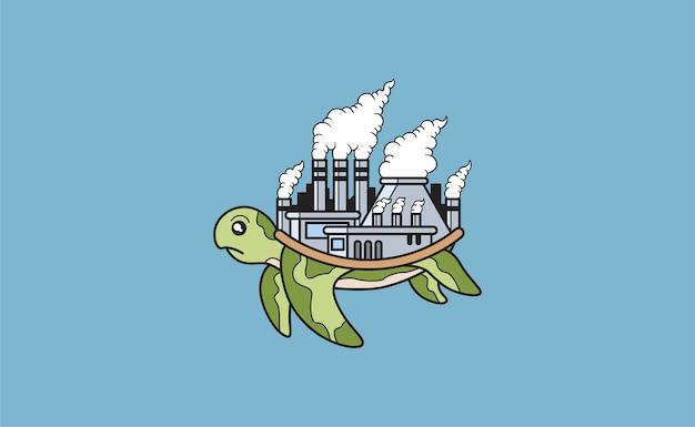 Черепаха с загрязненной фабрикой на обратной стороне
