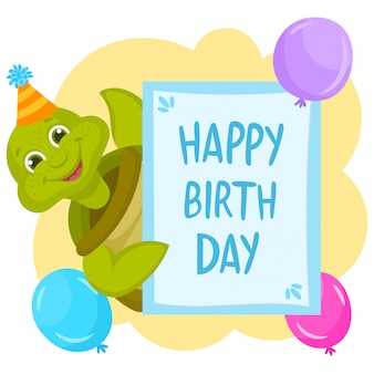Turtle with greeting banner. happy birthday illustration