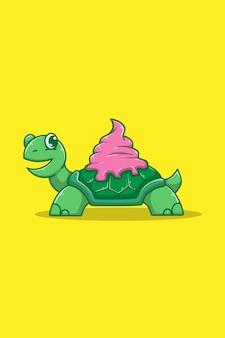 Turtle with ice cream cartoon illustration