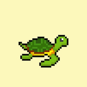 Turtle with pixel art style
