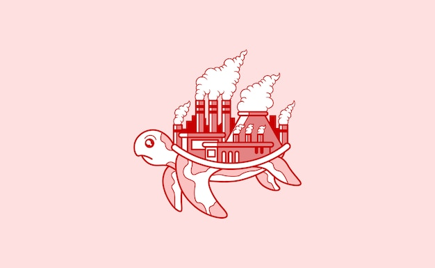 Turtle with a polluted factory on its back illustration