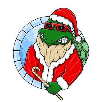 산타 클로스 크리스마스 의상 디자인 일러스트와 함께 거북이