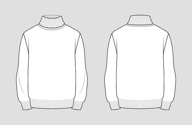 터틀넥 스웨터 템플릿. 남성 의류. 전면 및 후면보기. 의류의 패션 기술 스케치 개요.