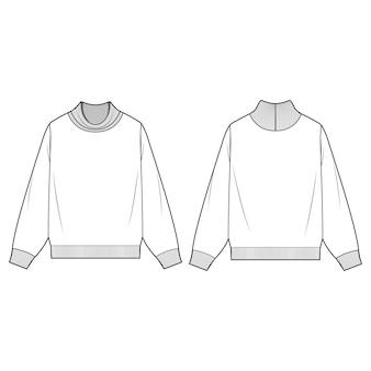 Turtleneck sweatshirts fashion flat templates