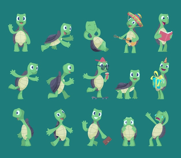 Turtles cartoon. comic reptile funny characters in various action poses nature wild animals vector turtles illustrations. reptile, turtle, tortoise animal mascot collection
