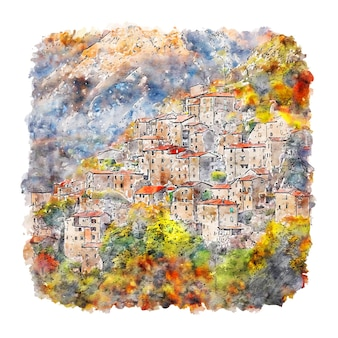 Tuscany italy watercolor sketch hand drawn illustration