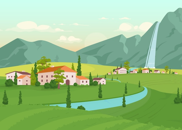 トスカーナの風景フラットカラーイラスト