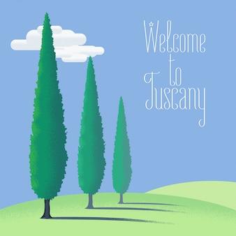 토스카나, 토스카나 농장 토지 그림, 배경, 디자인 요소. 이탈리아 시골보기