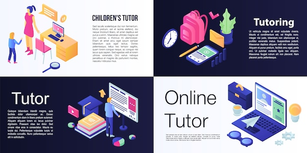 Tutor banner set, isometric style