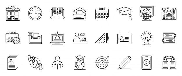 Tutor icons set, outline style