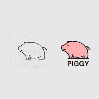 Tutorial drawing a pig with a combination of circles logo