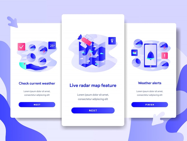 Tutorial screen page template of weather app