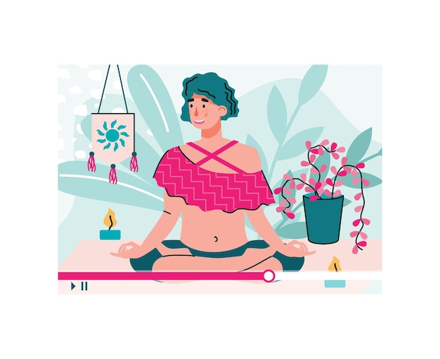 Tutorial with vlogger filming yoga practice cartoon vector illustration isolated