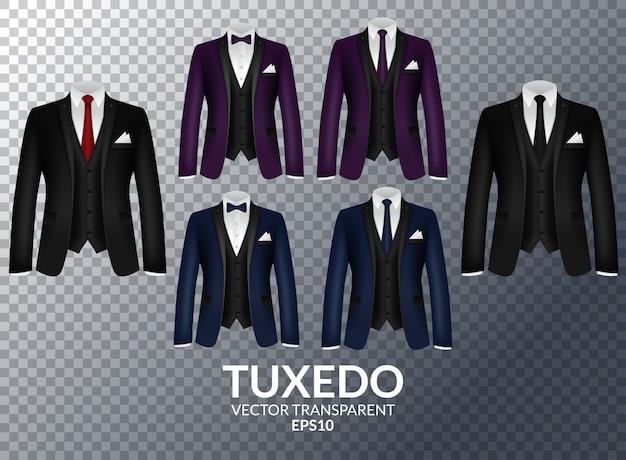 Tuxedo and bow. stylish suit.