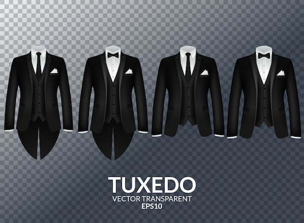 Tuxedo and bow. stylish suit.