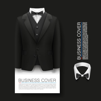 タキシードカバーの背景。カバービジネス。無料チケット、スーツ3dオブジェクト、ベクトル図