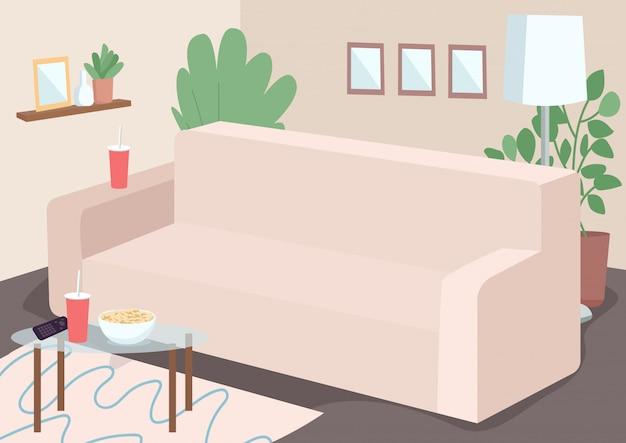 家族レジャーフラットカラーイラストのソファ。リビングのソファ。プラスチック製のマグとtvコントローラーでコーヒーを飲みます。家具付きの家。背景に装飾が施されたリビングルーム2d漫画インテリア