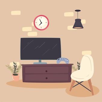 Телевизор и стул
