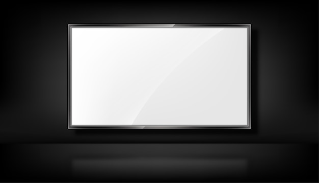 Tv  on the black background. realistic tv screen. blank led monitor