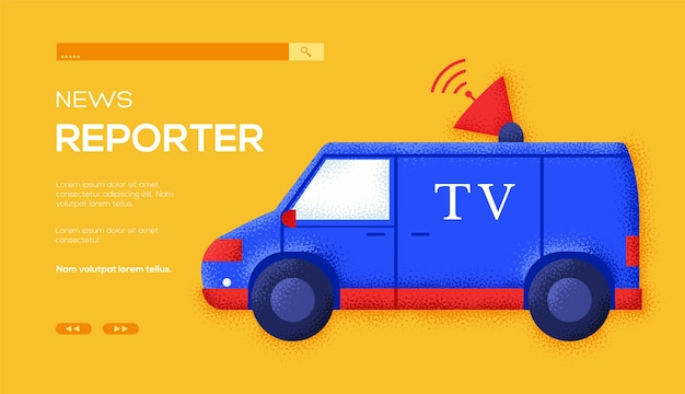 Tv car concept flyer, web banner, ui header, enter site. grain texture and noise effect.