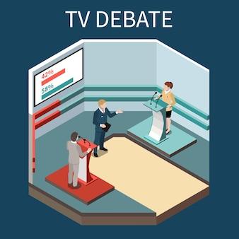Dibattito televisivo isometrico con presentatore televisivo due concorrenti politici alle tribune e schermo con illustrazione di valutazione rating