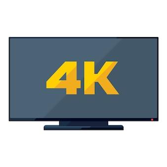 Плоский значок тв с золотым знаком 4k на экране