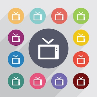 Tv, flat icons set. round colourful buttons. vector