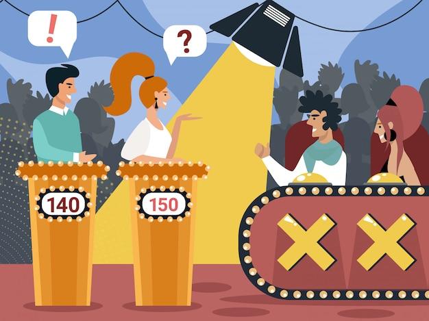 Телевизионное игровое шоу два участника стоят на трибунах