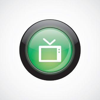 Tv glass sign icon green shiny button. ui website button