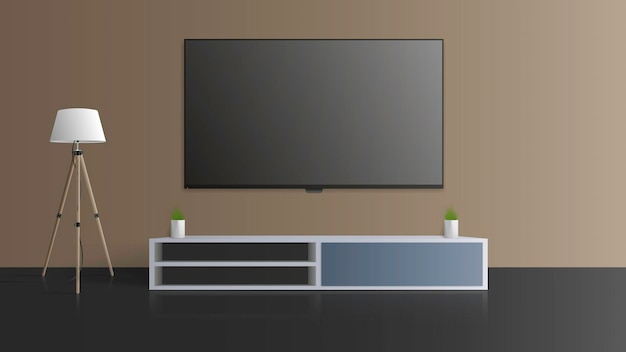 Tv on a gray wall. turn off the tv, a long loft bedside table.   illustration.