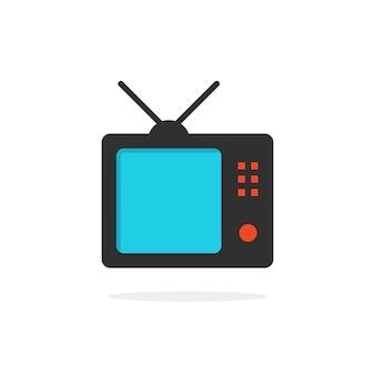 그림자 있는 tv 아이콘입니다. tv 아이콘 표시, tv 아이콘 상자, tv 아이콘 ui, tv 아이콘 라디오의 개념. tv 아이콘 흰색 배경에 고립입니다. 평면 스타일 트렌드 현대 tv 아이콘 로고 타입 디자인 벡터 일러스트 레이션
